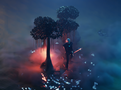 Witcher Forest witcher fanart lowpolyart diorama low poly isometric lowpoly render blender illustration 3d