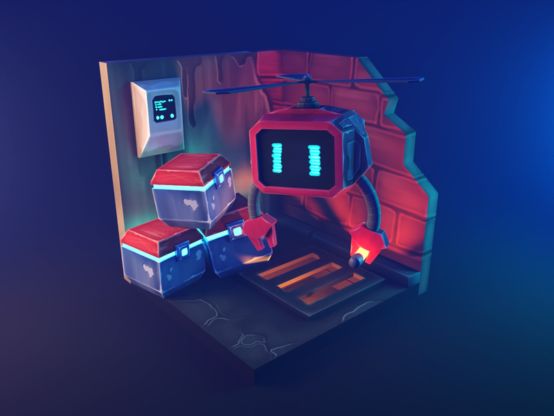 Parts Dealer painting bots lowpolyart diorama low poly isometric lowpoly render blender illustration 3d