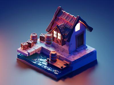 Waterfront environment art village environment diorama isometric render blender illustration 3d