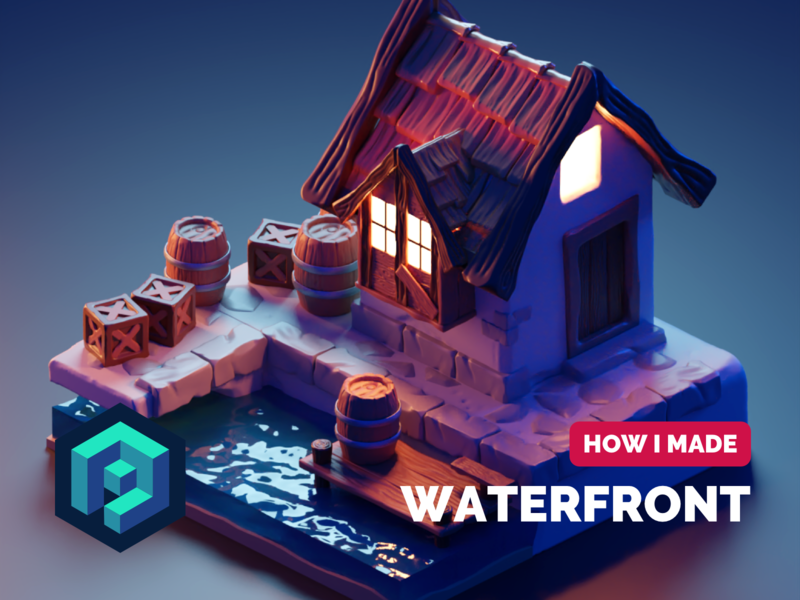 Waterfront Tutorial process tutorial sculpting stylized diorama isometric render blender illustration 3d