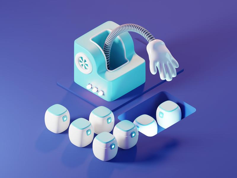 Sorting Bot webillustration ui bots isometric render blender illustration 3d