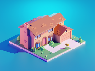 Simpsons 3d illustration simpsons house diorama isometric blender illustration 3d