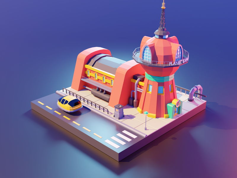Futurama futurama fanart lowpolyart low poly diorama isometric lowpoly render blender illustration 3d