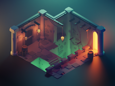 Dungeon lowpolyart low poly diorama isometric lowpoly render blender illustration 3d