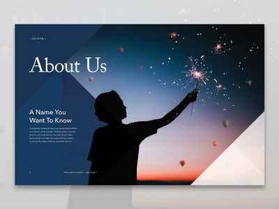 About Us Page Layout geometric minimal typography fireworks balloons nevada modern branding