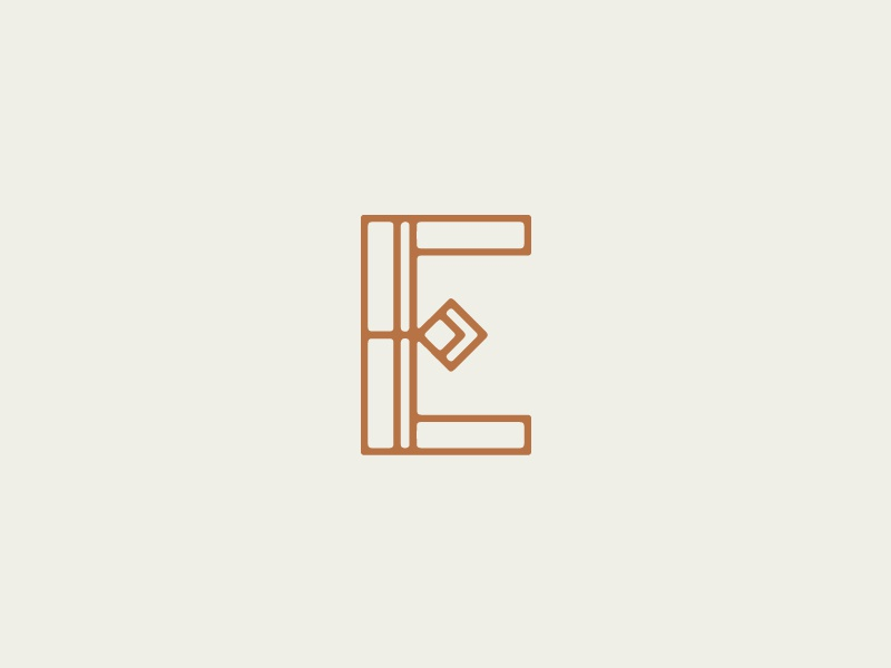 E Monogram branding minimal monogram geometric e hollywood