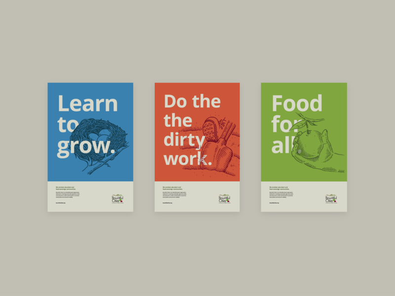 Bountiful Cities Poster Concepts Nonprofit Agriculture Sustainability  Layout Illustration Poster Design Posters Campaign