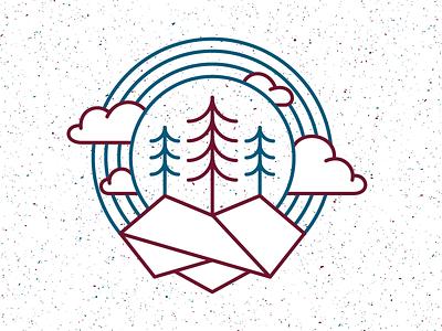 Mountain Paradise clouds trees mountain monoline badge logo branding icon
