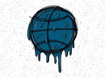 Drippy Basketball drippple dripping drips drip basketball sketch illustration design