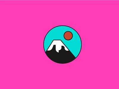 Illustration for Hokku restaurant restaurant asia sun fujiyama vector logo japan illustraion mountain branding 2dillustration