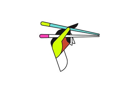 Illustration for Hokku restaurant logotype logo sushi japan asia food restaurant cafe brand vector branding 2dillustration illustration