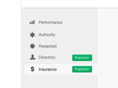 Application Tabs icons tabs web application sidebar