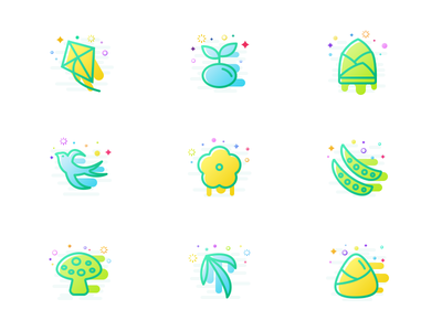 A set of spring-themed icons flat icon design ui