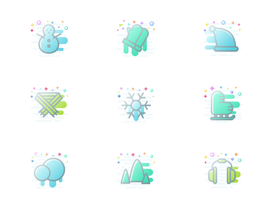 A set of icons on the theme of winter flat icon design ui