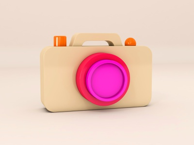 Camera typography design illustration three-dimensional cinema4d