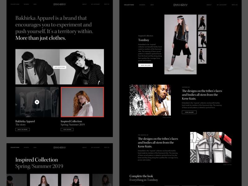 Bakhirka Apparel Website commerce black  white fashion clean club studio web design