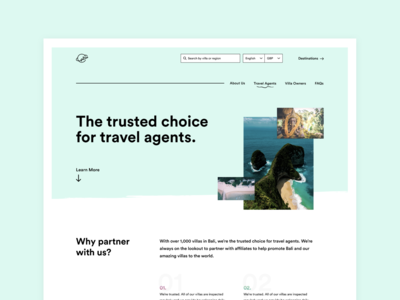 Unused landing page for travel company