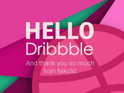 My first Dribbble shot you thank poster happy excited dribbblers hello