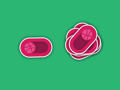 Dribbble Sticker (for Sticker Mule) sticker illustration fun on off playoff pixel dribbble