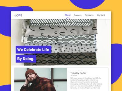 Dribbble Joos card ux ui logo design page about web we design
