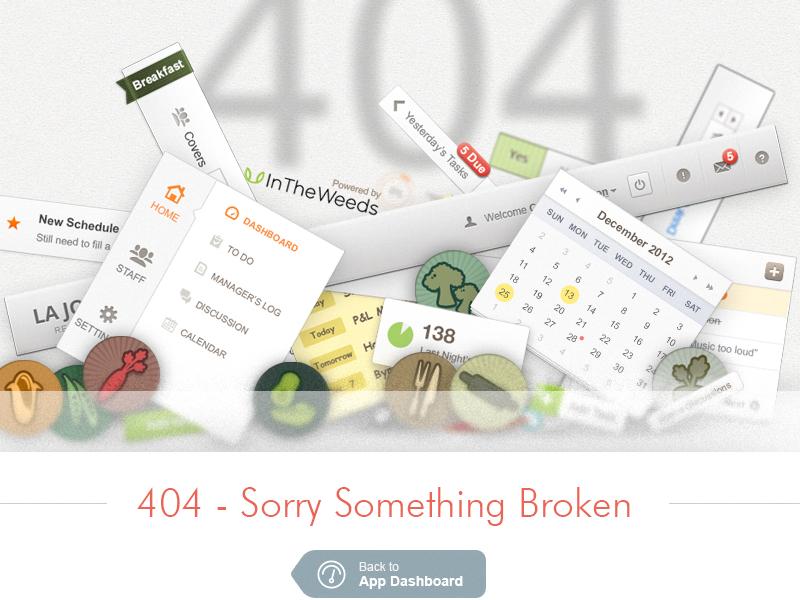 404 Broken UI 404 broken link ui elements restaurant app user interface calendar header avatars sticky note navigation
