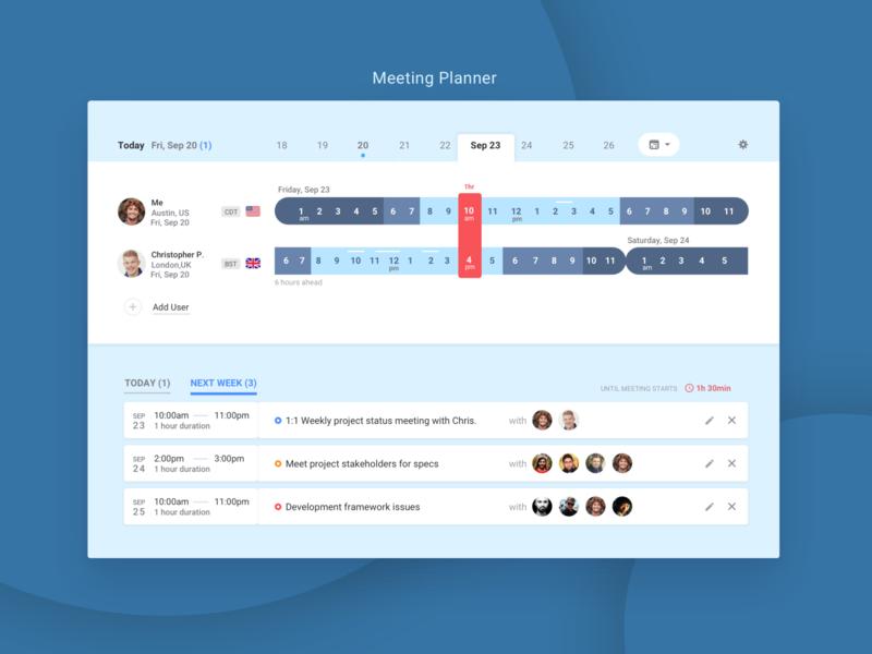 Meeting Planner app for multiple timezone 1:1 meeting meeting app multiple timezone timezone offshore planner meeting ui app