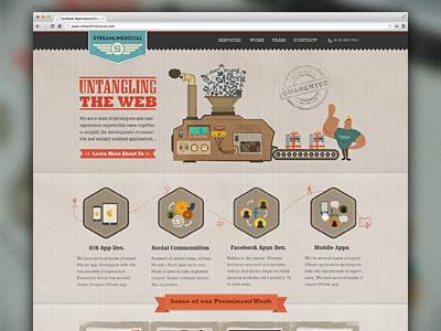 StreamlineSocial Branding branding web design retro texture machine process services stamp paper