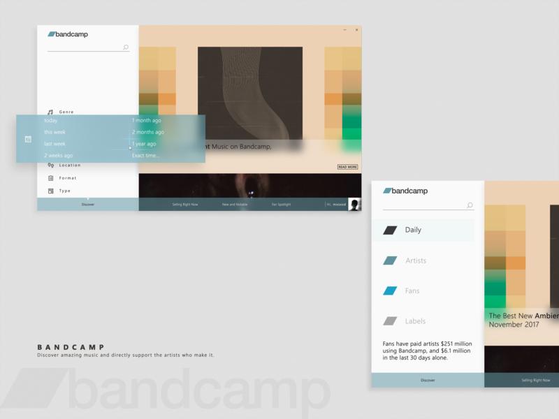 bandcamp UWP UI by Masoud Omidian on Dribbble