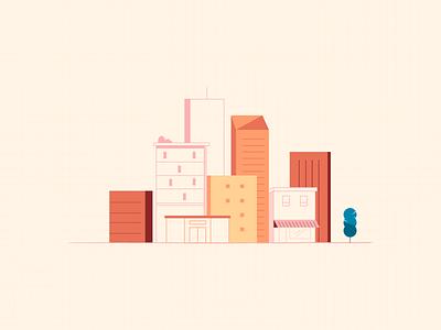City lineart graphic orange skyline city design artwork illustration