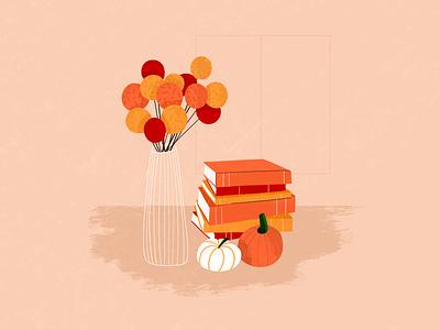 Autumn mood sketch pumpkin flowers books chill graphic design vector home orange halloween inspiration illustration
