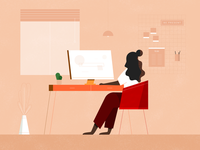 Home office desk design chill girl vector artwork graphic design inspiration illustration homeoffice remote work