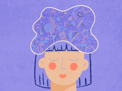 Thinking project organization mindfulness vector purple head girl réflexion illustration