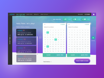 Keno Desktop UI Project user interface gaming desktop