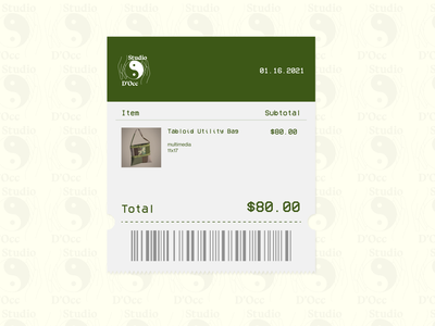 Studio D' fashion ecommerce receipt dailyui017 dailyuichallenge ui design a day design dailyui