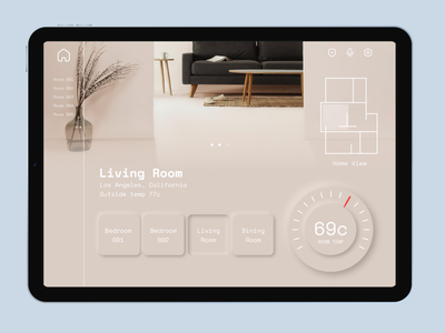 @home in helle temperature control home monitoring home monitoring dashboard neumorphic design neumorphism app minimal dailyuichallenge ui design a day design dailyui