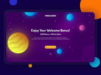 freeSpins bonus casino games game design game planet marakas ui illustration website web space casino
