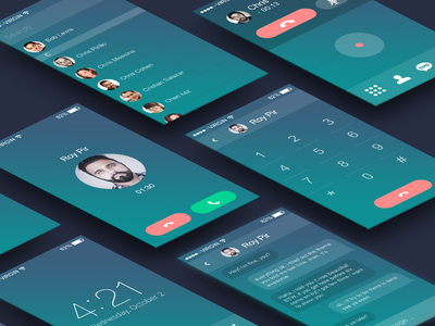 Phone concept phone ui ux mobile ios israel eyal zuri face chat dialer call flat