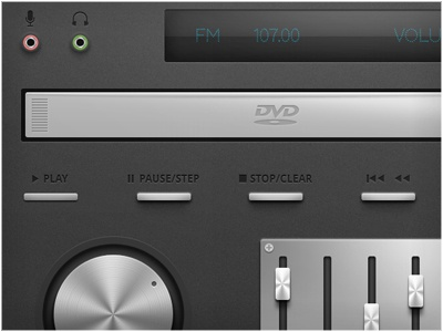 DVD Panel & PSD dvd buttons effects play volume display ux mono stop clear gloss ui stereo app application shades lighting material photoshop realistic slots slider shadow pause israel psd eyal zuri