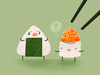 Run, Maki, runnn! procreate maki rice ball onigiri japanese food food illustration food