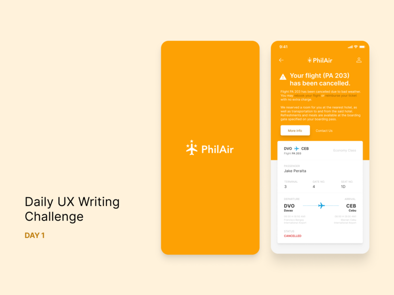 Daily UX Writing: Day 1 microcopy flight mobile ui ux ux writing