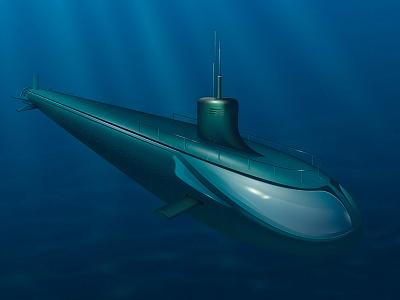 Submarine underwater water submarine illustration poligon