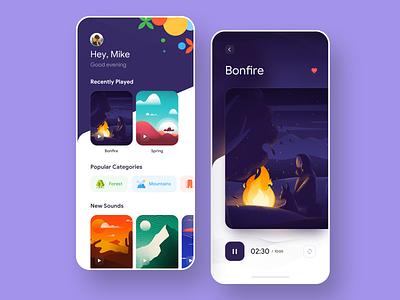 Ambient Sounds App Concept card player music meditation meditate sound illustration app minimal