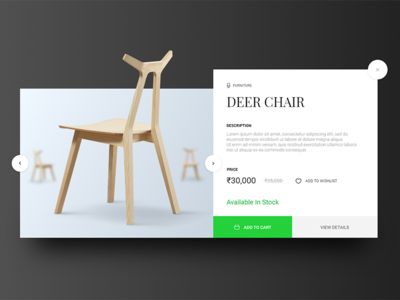 E-commerce - Furniture Quick View Card