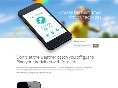 Foresee Site app iphone weather activity planning colorful site launchpage desktop