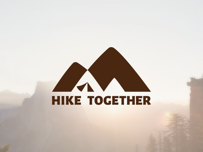 HikeTogether Logo branding logo tent outdoor negative space mountain hiking trail hike gear climb camping