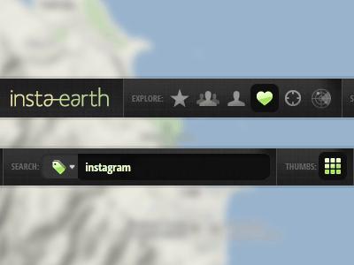 New InstaEarth Navigation application earth instaearth instagram photography google places navigation navbar tabbar icons glyphish green yellow map photos desktop