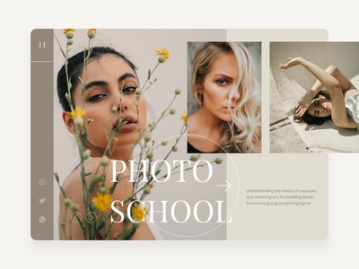 Photo School 👩🎓 photographer photo school photo typography branding web ui design