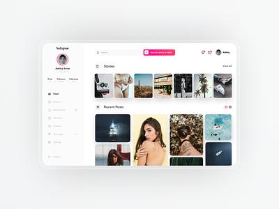 Instagram Desktop Concept 📷 web design ux design social media user interface ui designer ui simple minimal modern ui design