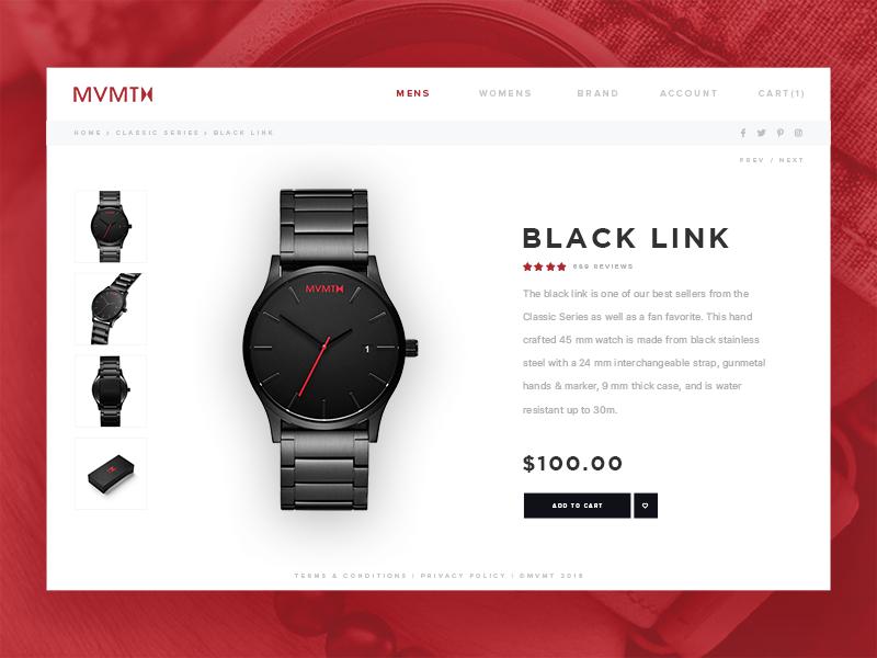 Daily UI #012 - Single Product ux design design challenge user interface web ui mvmt watch ui design dailyui