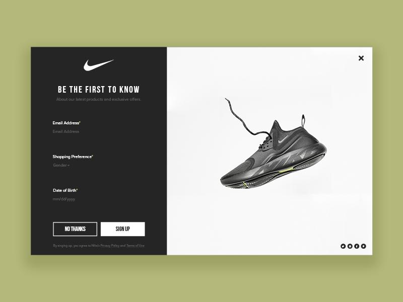 Daily UI #016 - Popup modern minimal shoe user interface design challenge designer ux design popup sports nike ui designer dailyui